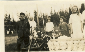 School children celebrating May Day. Mary Leask is on the right. Photo courtesy Museum at Campbell River.