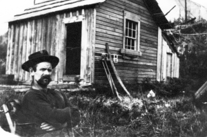 Skookum Tom Leask on his homestead at Hyacinthe Bay, Quadra Island. Museum at Campbell River #6047.