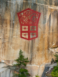 Artist  Marianne Nicholson's modern pictograph in Kingcome Inlet.