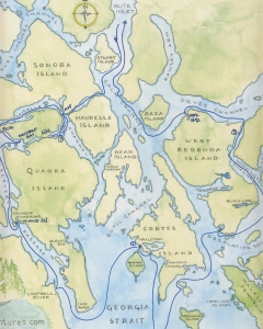 Map courtesy Farlyn Campbell of Mothership Adventures, from their annual Discovery Islands tour.